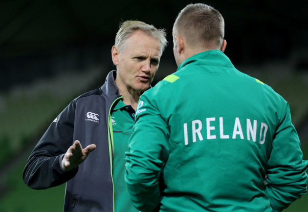 Joe Schmidt with Jordan Larmour