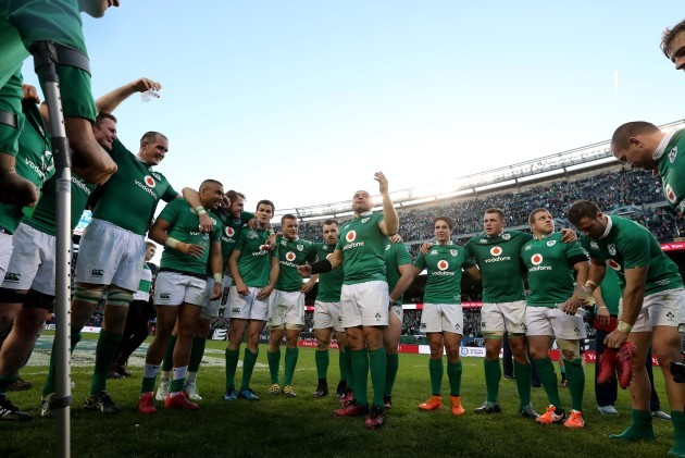 Rory Best speaks to the team after winning