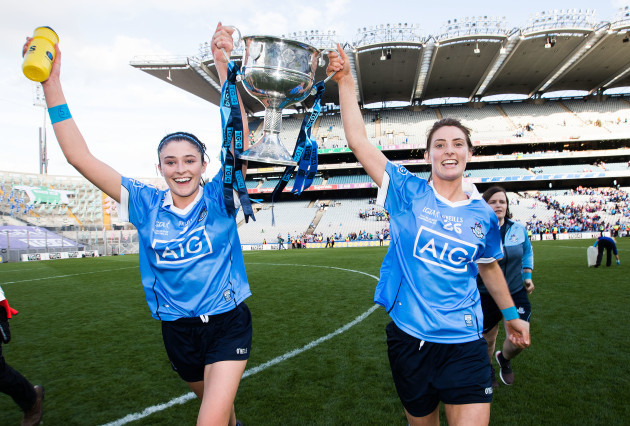 Oonagh Whyte and Olwen Carey celebrate with the trophy