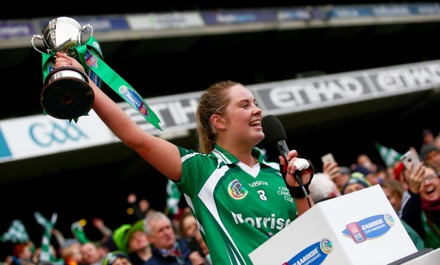 Aisling McCarthy lifts the cup