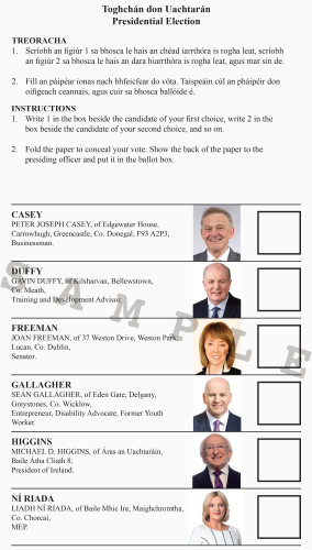 Sample ballot paper for presidential election