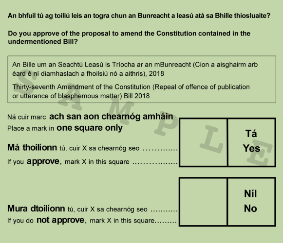 Sample ballot paper for the referendum
