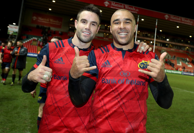 Conor Murray and Simon Zebo celebrate after the game 17/12/2017