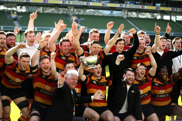 Lansdowne celebrate with the cup after the game