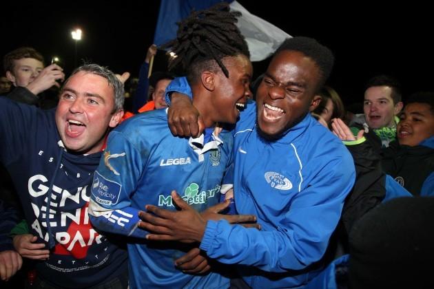 Finn Harps match winner BJ Banda celebrates at the final whistle