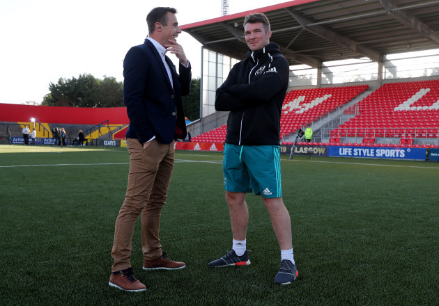 Tommy Bowe and Peter O'Mahony before the game