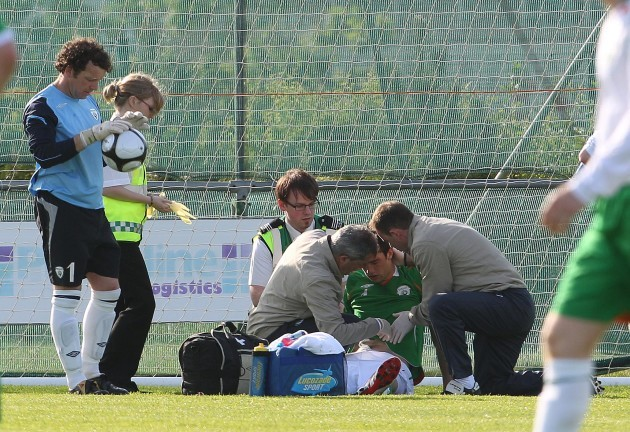 Shane Duffy injured after a goalmouth collision