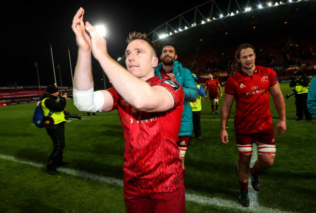 Rory Scannell celebrates after the game