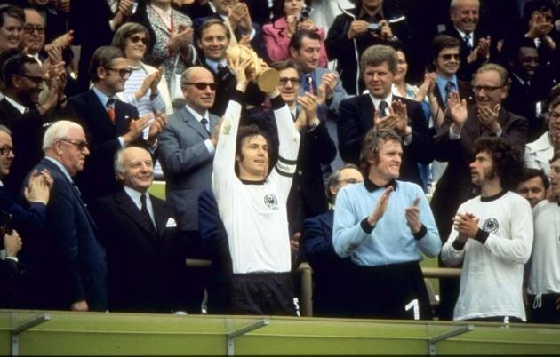 Franz Beckenbauer lifts the World Cup