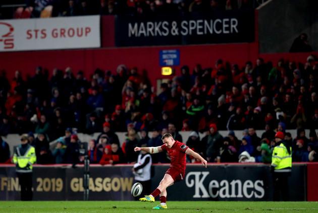 Rory Scannell kicks the winning penalty