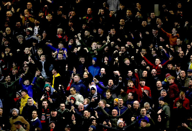 Bohs' fans celebrate the first goal