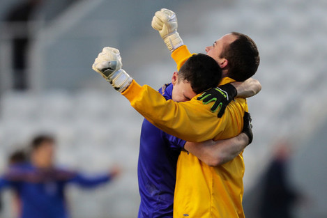 John Kerins and Colm Scully celebrate at the final whistle