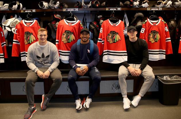 Josh van der Flier, Bundee Aki and Garry Ringrose at the Blackhawks training centre