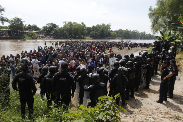 Central American migrants on their way to USA