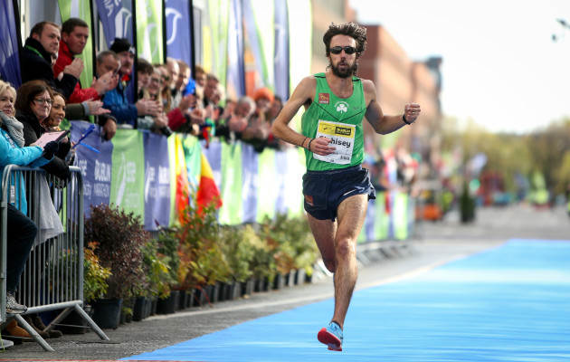 Mick Clohisey finishes in sixth overall and winner of the Irish National Marathon title