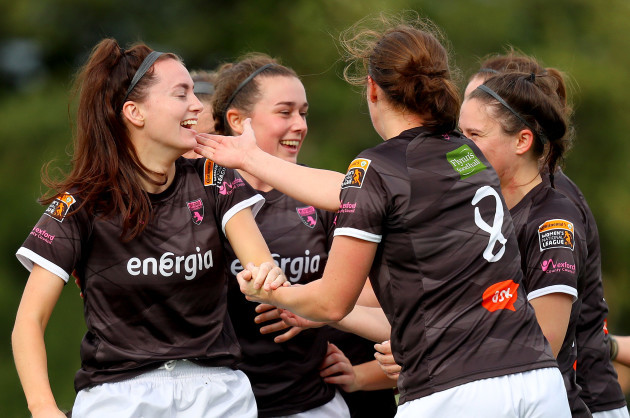 Lauren Dwyer celebrates scoring the opening goal with Edel Kennedy