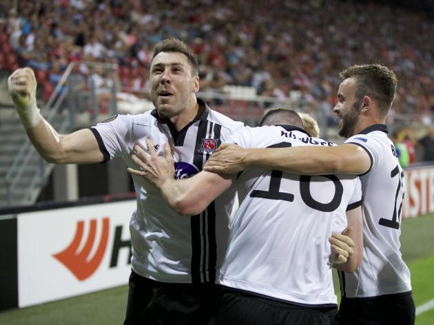 Ciaran Kilduff celebrates scoring the equaliser with Brian Gartland