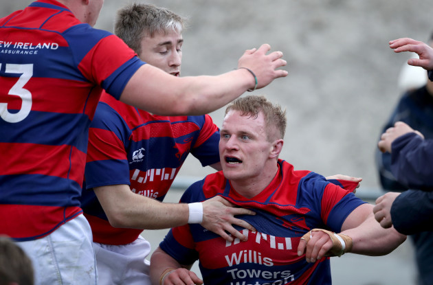 Anthony Ryan celebrates his try with Angus Lloyd