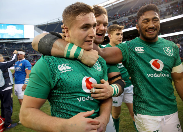 Andrew Porter and Bundee Aki congratulate Jordan Larmour after the game