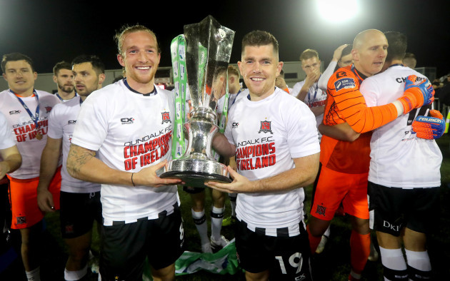 John Mountney and Ronan Murray celebrate with the trophy