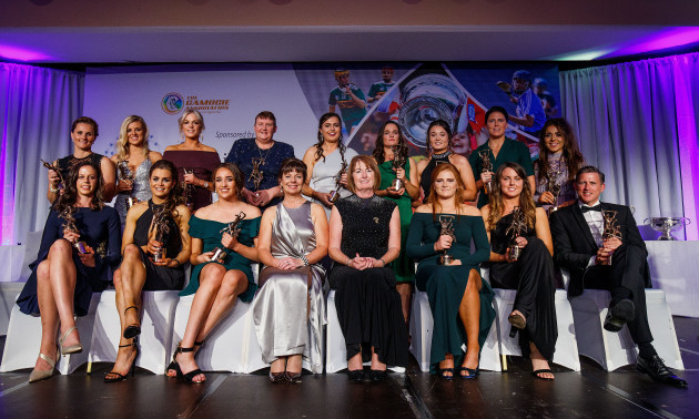 Kathleen Woods and Deirdre Ashe with the 2018 Camogie All-Stars team