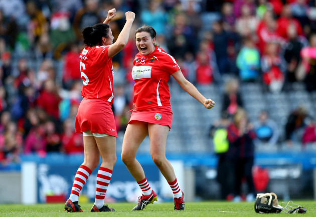 Gemma O'Connor and Hannah Looney celebrates