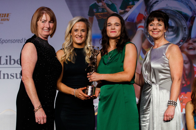 Kathleen Woods, Gemma Begley and Deirdre Ashe present Anne Dalton with the 2018 Senior Player's Player Of The Year Award