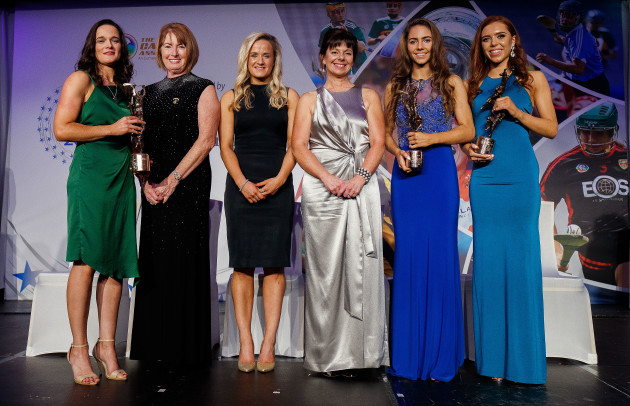 Kathleen Woods ,Gemma Begley, Deirdre Ashe, Saoirse McCarthy and Caragh Dawson after receives their Player's Player Of The Year awards