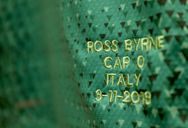 A view of Ireland's Ross Byrne's jersey in the dressing room