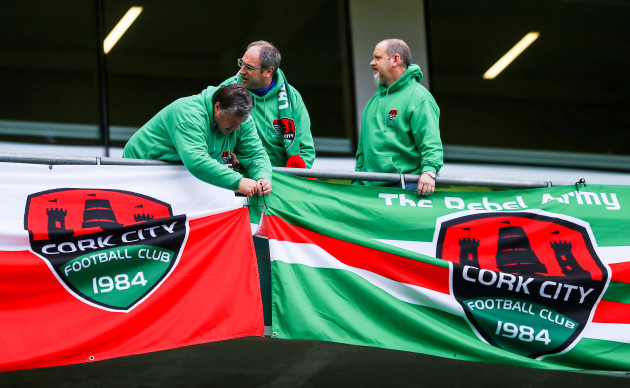 Cork fans set up their flags before kick off