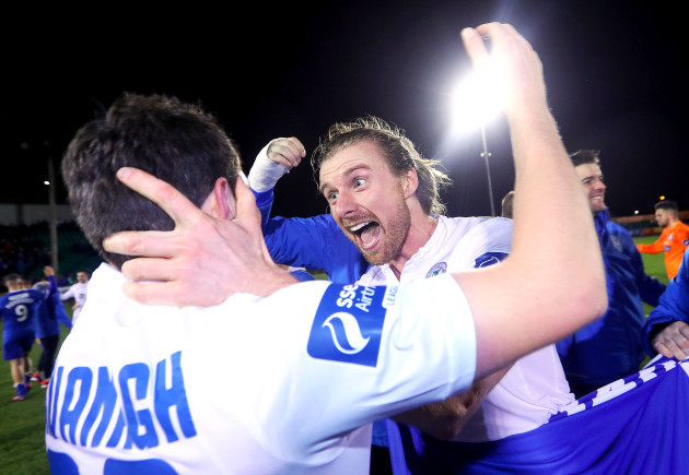 Keith Cowan celebrates after the game with John Kavanagh
