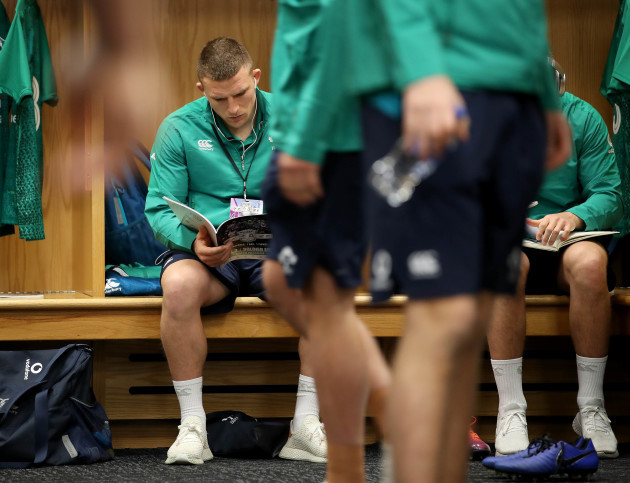 Andrew Conway in the changing rooms ahead of the game