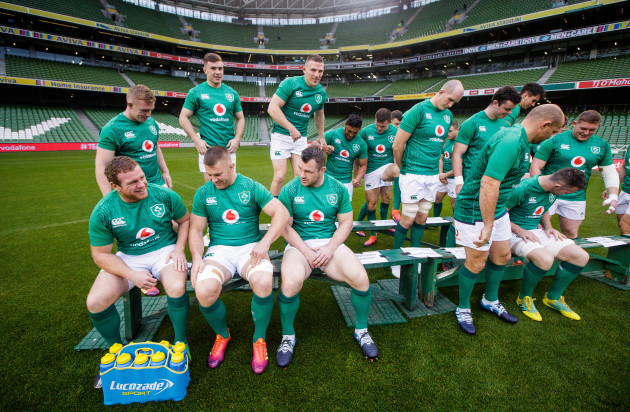 Sean Cronin, Sean O'Brien and Cian Healy share a joke