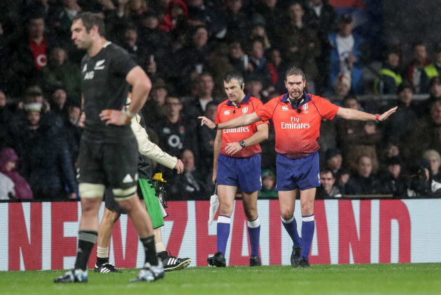 Jerome Garces rules out an England try after consulting the TMO