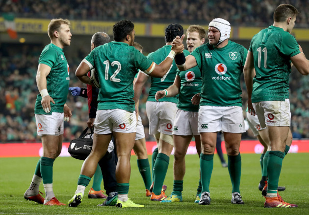 Bundee Aki celebrates scoring his sides second try with Rory Best