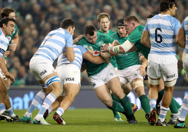 Cian Healy and Tadhg Furlong on the attack