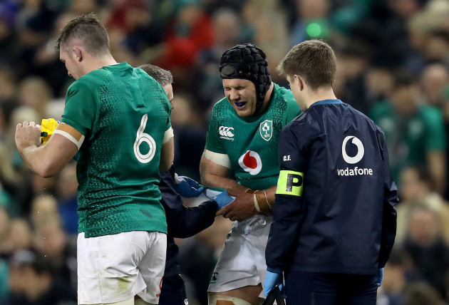 Sean O'Brien receives medical attention