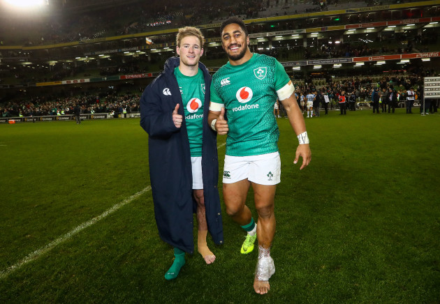 Kieran Marmion and Bundee Aki celebrate after the game