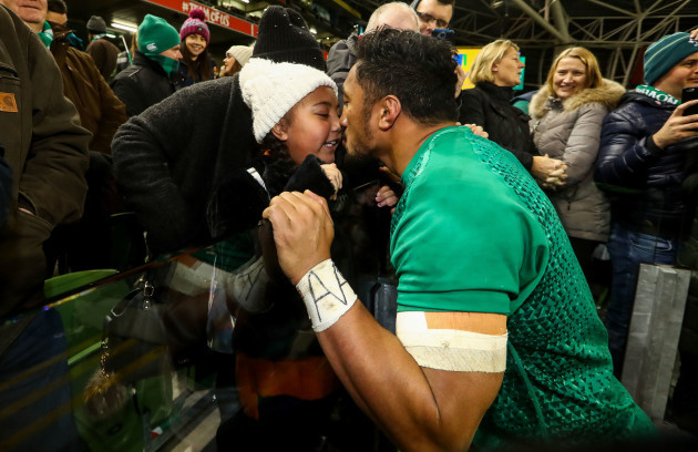 Bundee Aki celebrates with his daughter Adrianna after the game