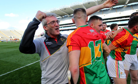 Colm Bonnar celebrates with his players after the game