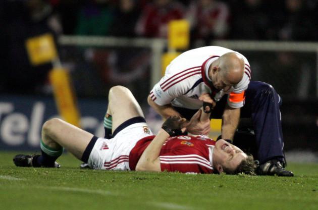 An injured Brian O'Driscoll
