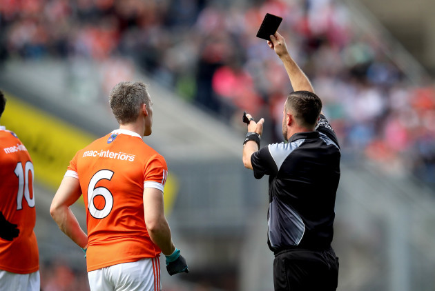 Mark Shields is black carded by Referee David Gough