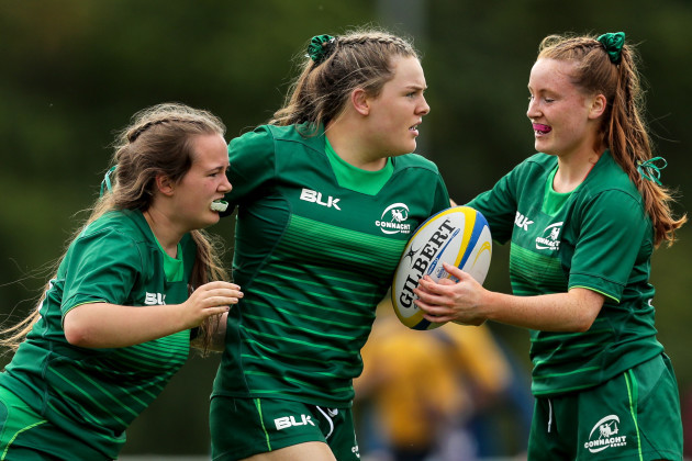 Beibhinn Parsons celebrates scoring a try with Niamh Kenny and Meabh Deely 15/9/2018