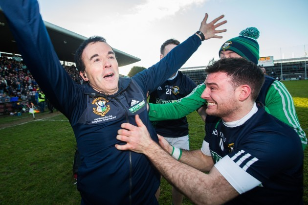 Louis Mulqueen celebrates after the game with selector Paul Mitchell and Conor Kavanagh