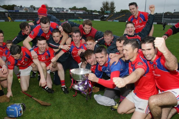 St. Thomas players celebrate winning the Galway Senior Club hurling final