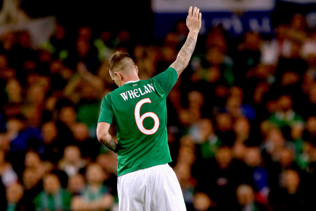 Glenn Whelan acknowledges the crowd as he is replaced