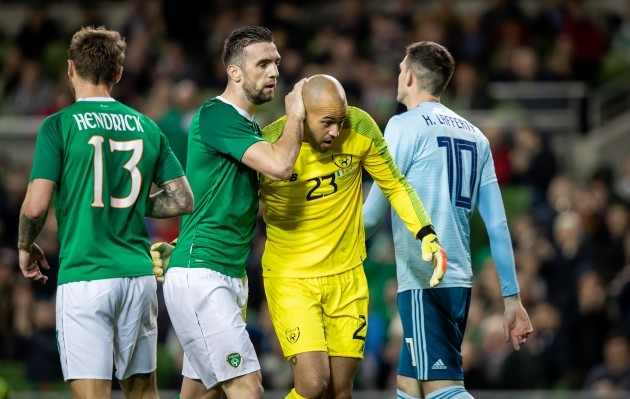 Shane Duffy congratulates Darren Randolph after making a crucial save