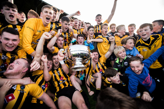 Dunboyne celebrate after the game with the trophy