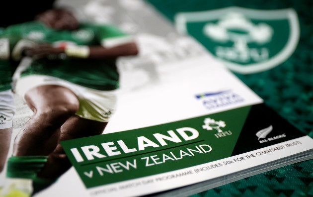 A view of the match programme and Ireland jersey in the Ireland dressing room ahead of the game
