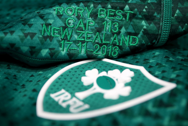A view of the Ireland's Rory Best's jersey ahead of the game